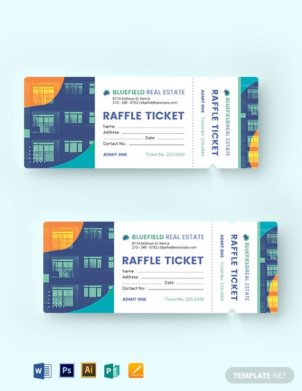 Real Estate Raffle Ticket Template