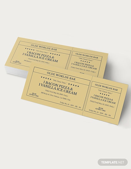 Sample Retro Food Ticket