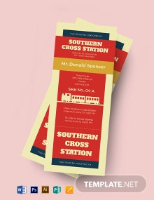 Retro Train Ticket Template