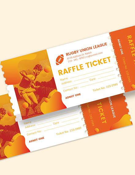 Sample Rugby Raffle Ticket