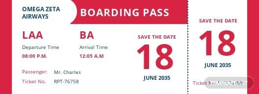 Save The Date Airline Ticket Template