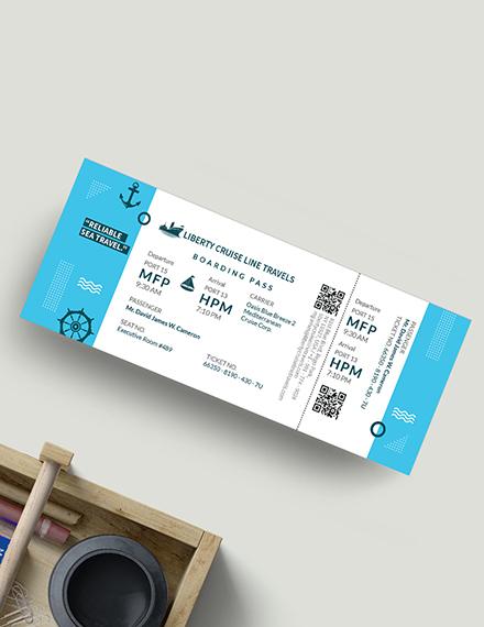 Sample Cruise Travel Ticket
