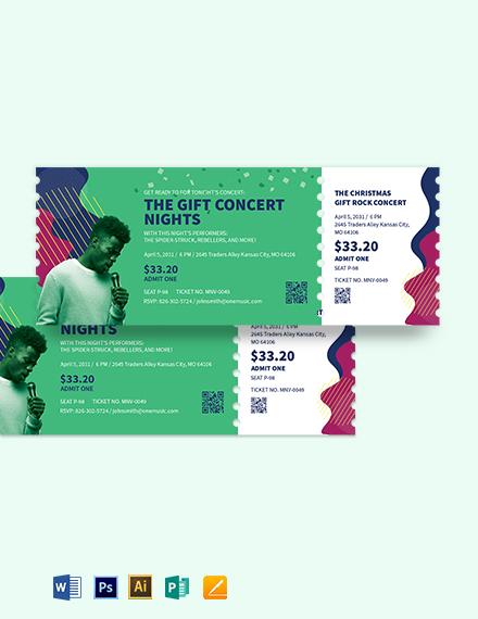 Gift Concert Ticket Template