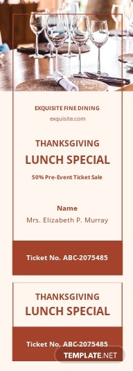 Lunch Sale Ticket Template
