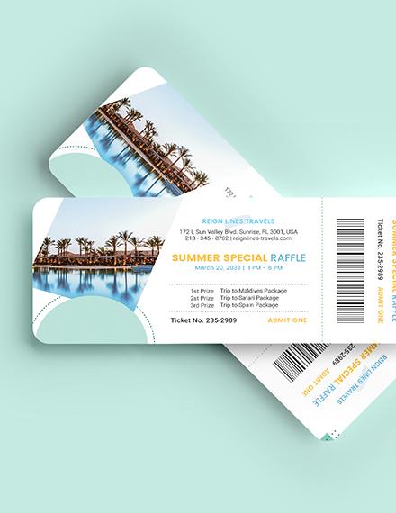 Sample Tour Raffle Ticket