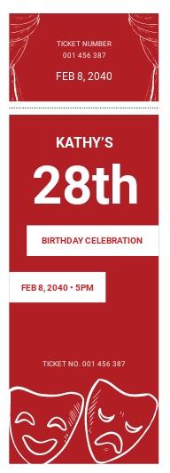 Theatre Birthday Ticket Template