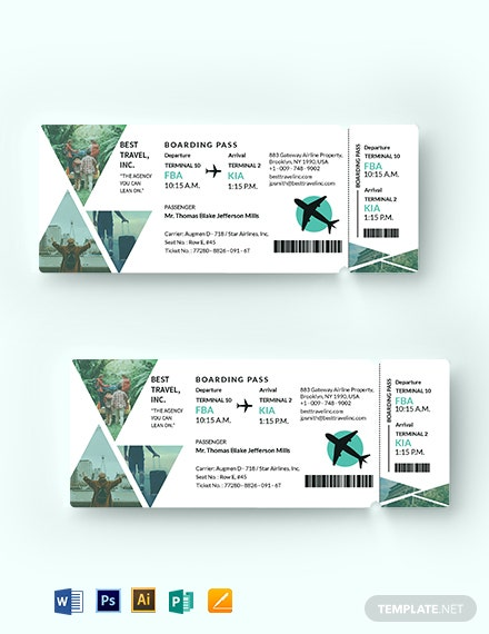 download travel agency ticket template