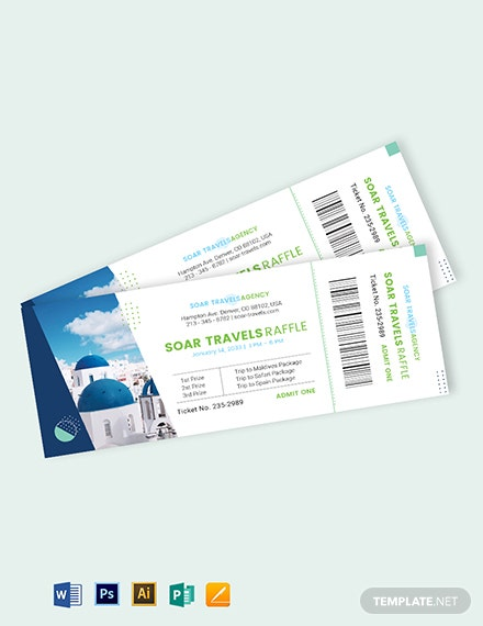 Travel Raffle Ticket Template