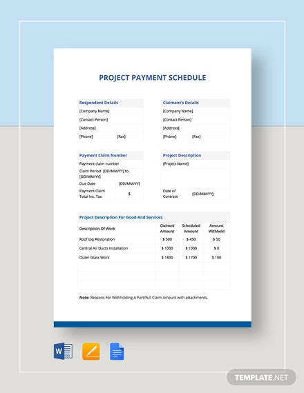 Printable Project Payment Schedule Template