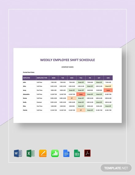 Sample Weekly Employee Shift Schedule Template