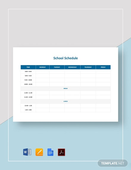 Blank School Schedule Template