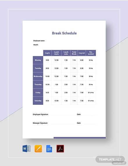break schedule template
