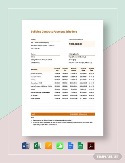Building Contract Payment Schedule Template