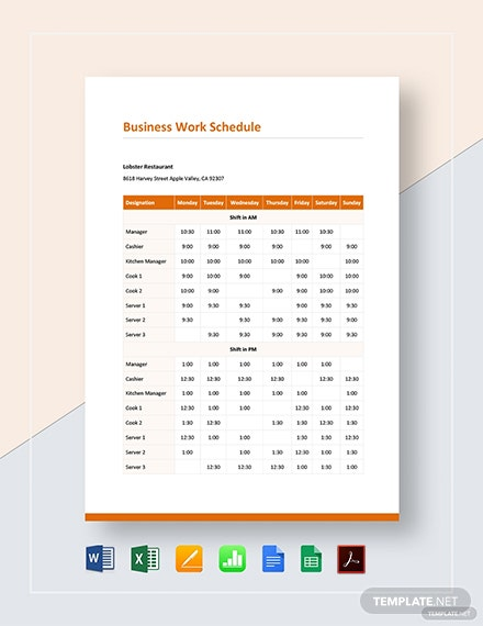 business work schedule 3