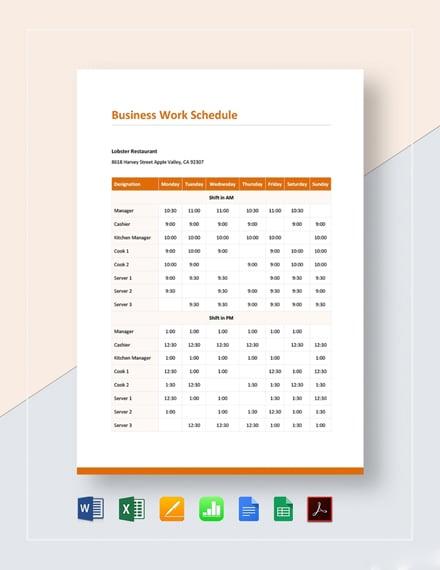 Business Work Schedule Template