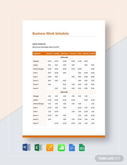 Business Work Schedule Template