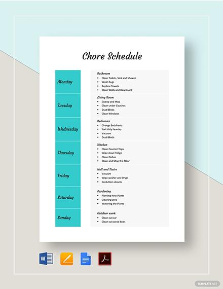 Chore Schedule Template