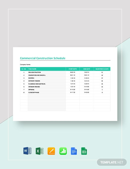 Commercial Construction Schedule Template