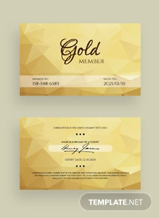 Free Gold Membership Card Template
