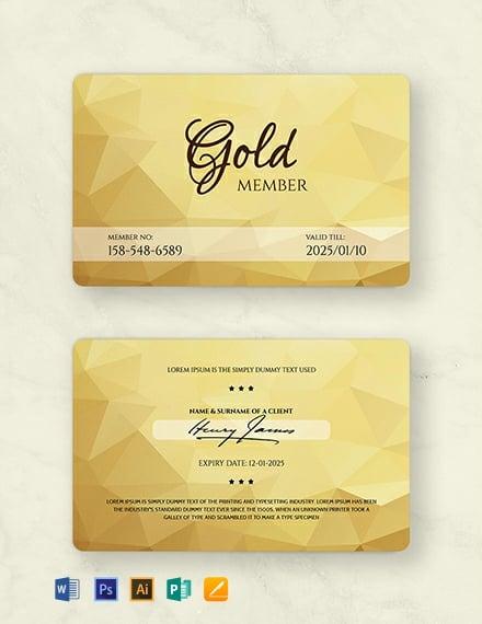 Free Gold Membership Card Template