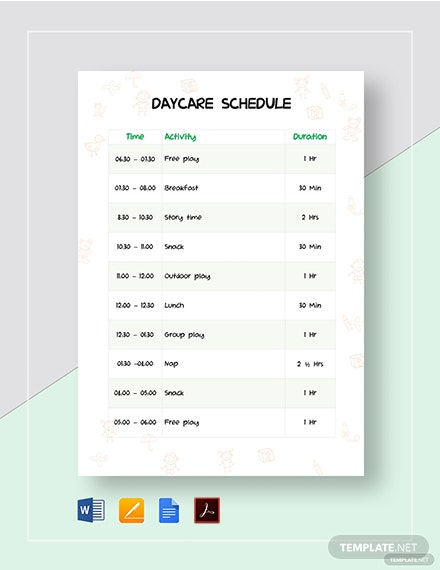 Daycare Schedule Template