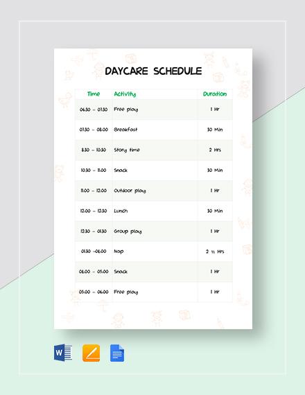 Daycare Schedule Template