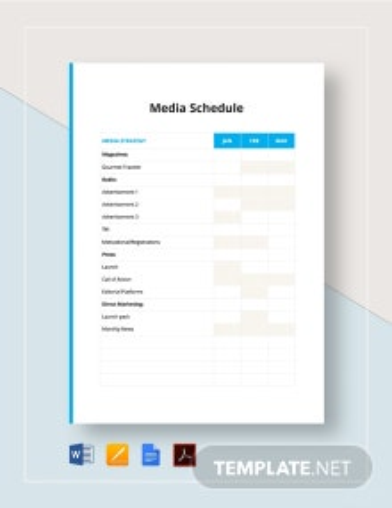 Media Schedule Template