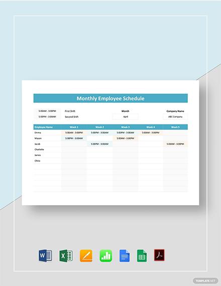 Monthly Employee Schedule Template