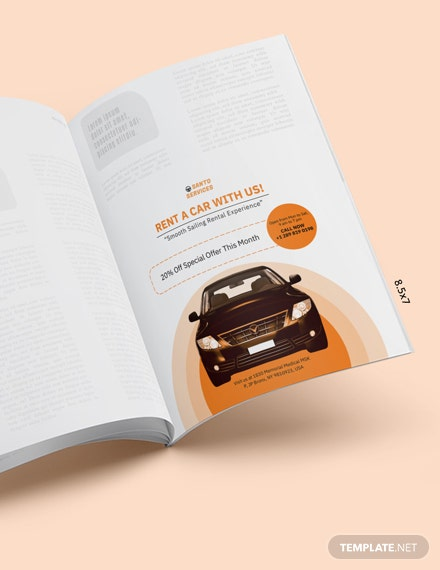 Editable Car Rental Magazine Ads Template