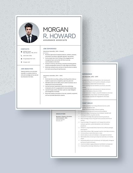 Assurance Associate Resume Download