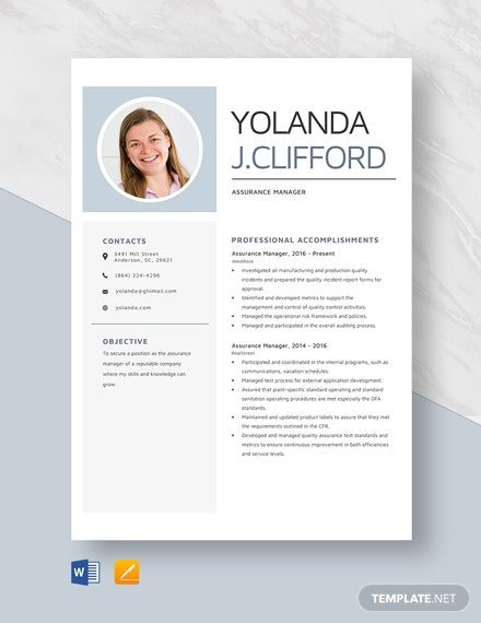 Assurance Manager Resume Template