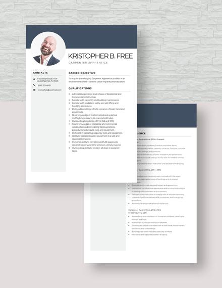 Carpenter Apprentice Resume Download