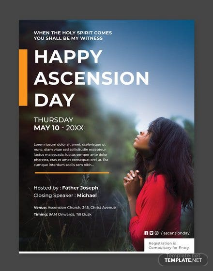 Free Ascension Day Poster Template