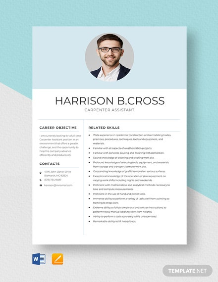 Carpenter Assistant Resume Template
