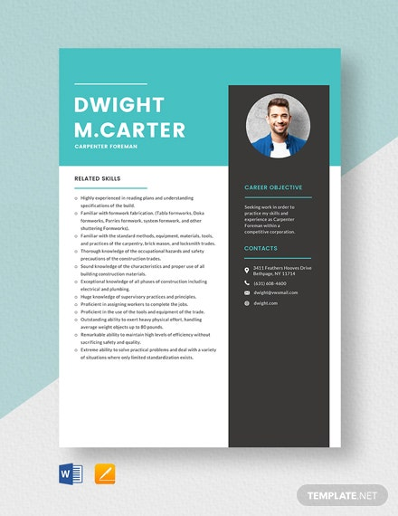 Carpenter Foreman Resume Template