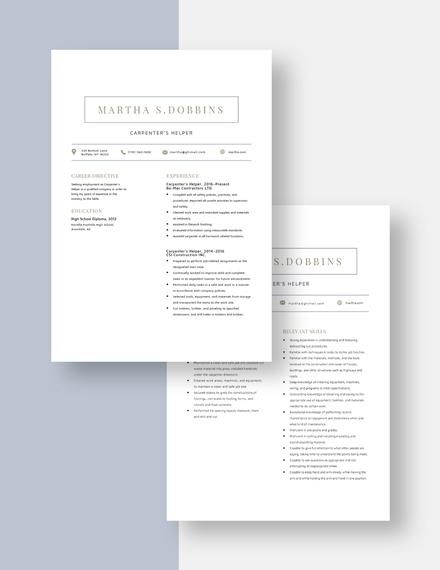 Capenters Helper Resume Download