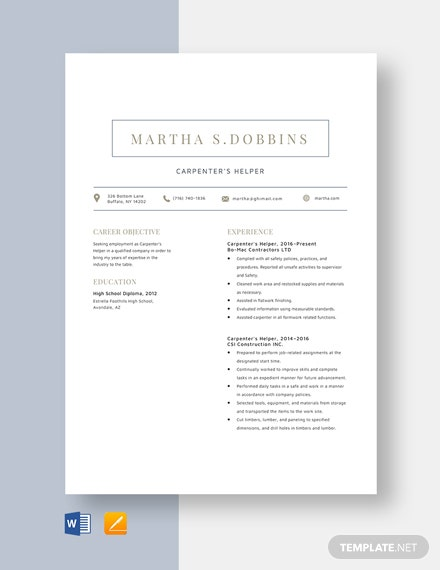 Carpenter's Helper Resume Template