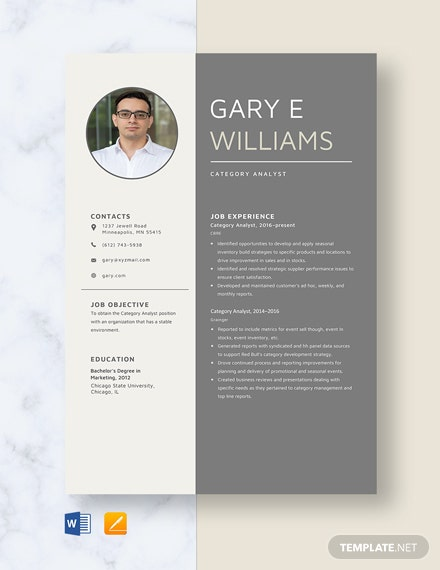 Category Analyst Resume Template