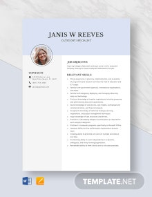 Category Specialist Resume Template