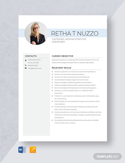 Catering Administrative Assistant Resume Template