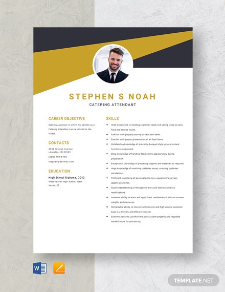 Catering Attendant Resume Template