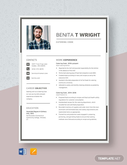 Catering Cook Resume Template