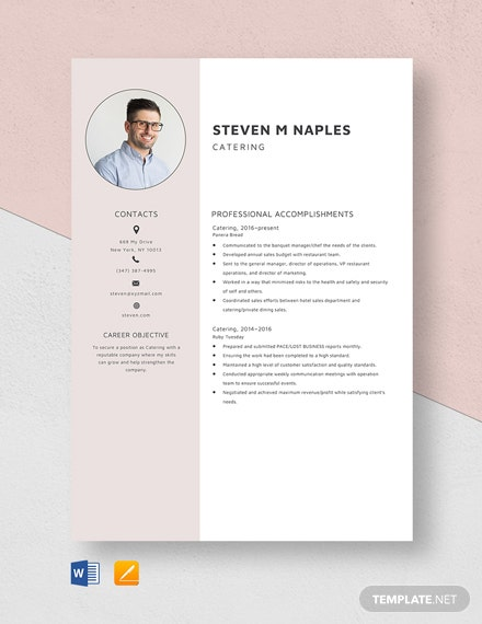 Catering Resume Template