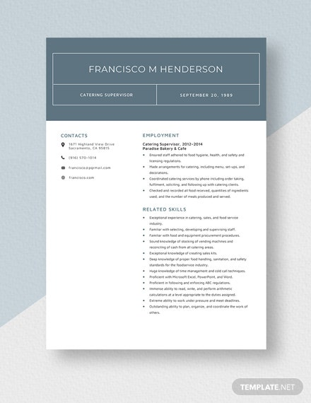 Catering Supervisor Resume Template