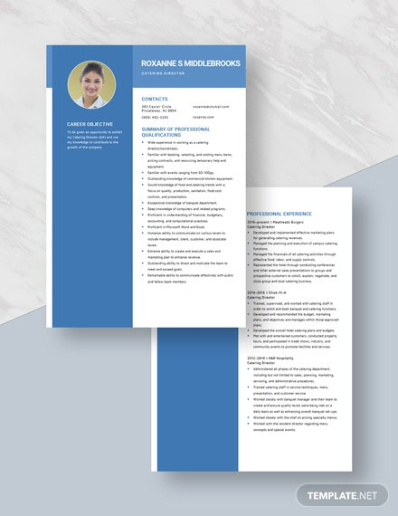 Catering Director Resume Download