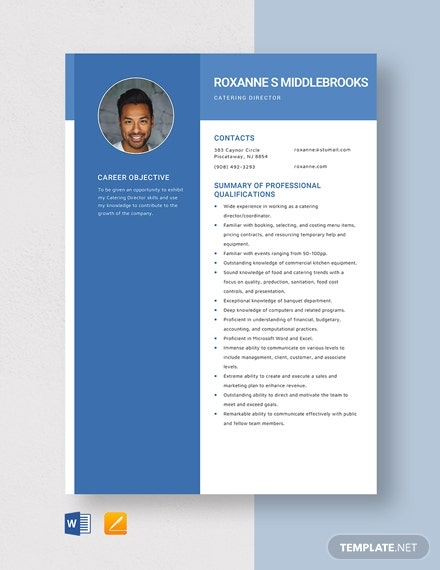 Catering Director Resume Template