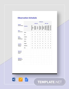 Observation Schedule Template