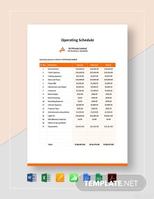 Operating Schedule Template