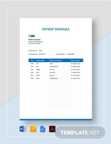 Patient Schedule Template