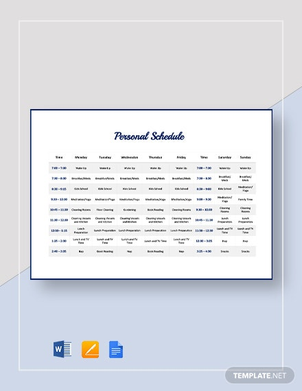 Personal Schedule Template